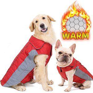 🐶2/$25 DOGLEMI Red Warm reflective dog jacket
